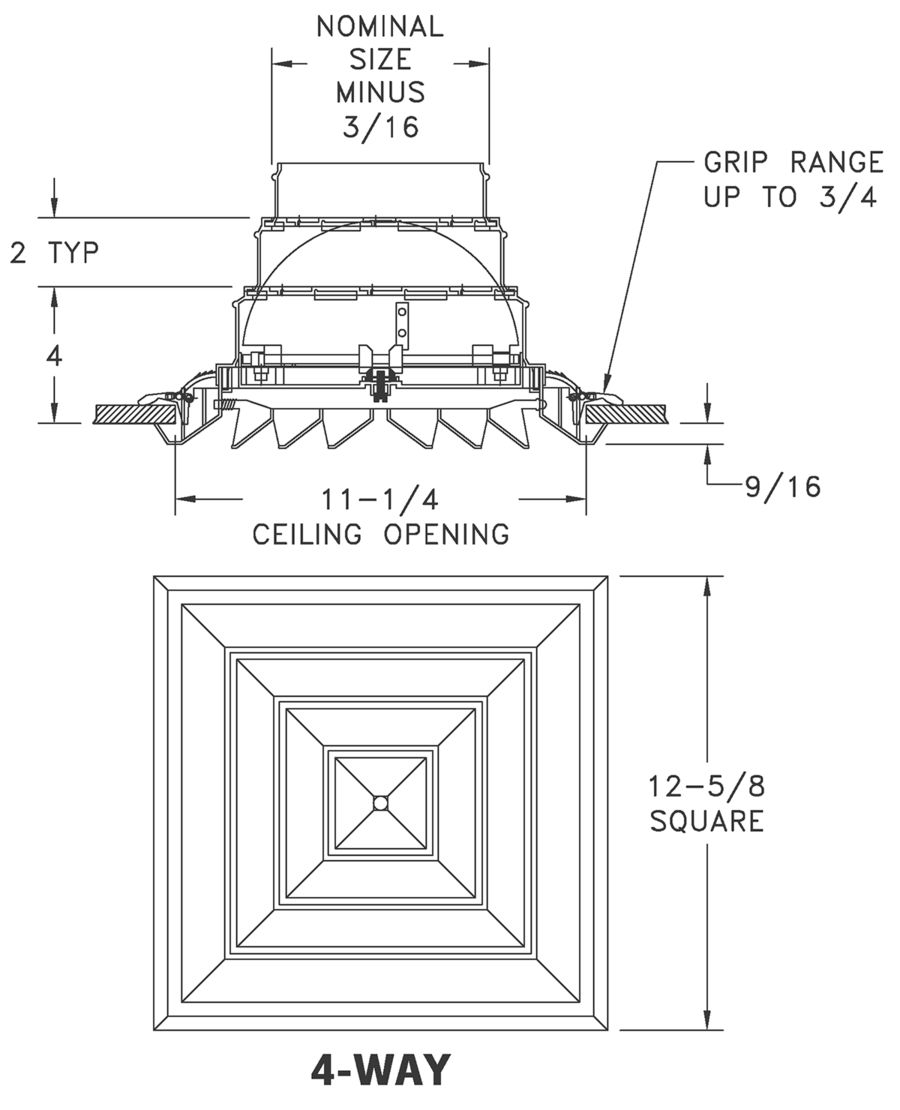 Linear Diffuser Cad Detail : Rz square rezzin ceiling diffuser lima