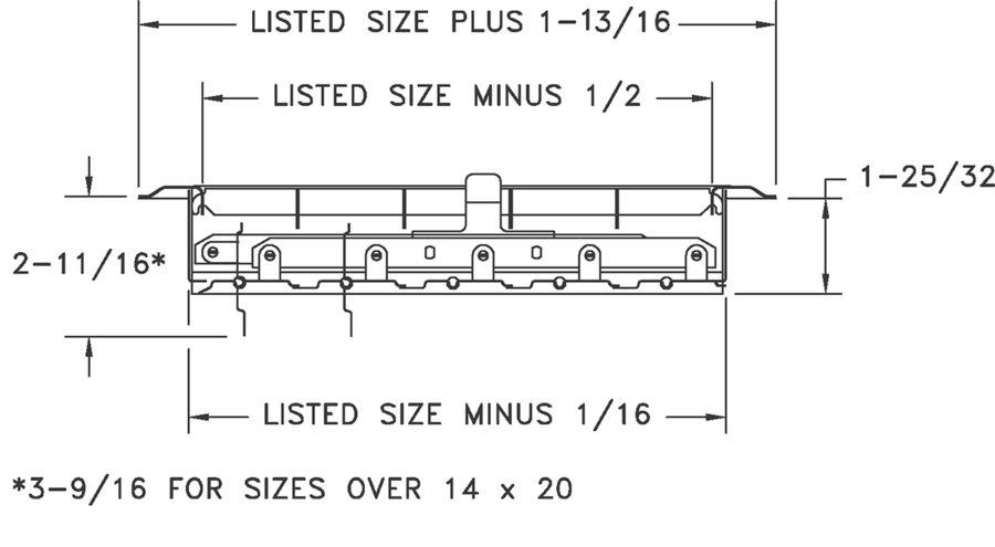Dimensional Drawing 830 - Floor Register