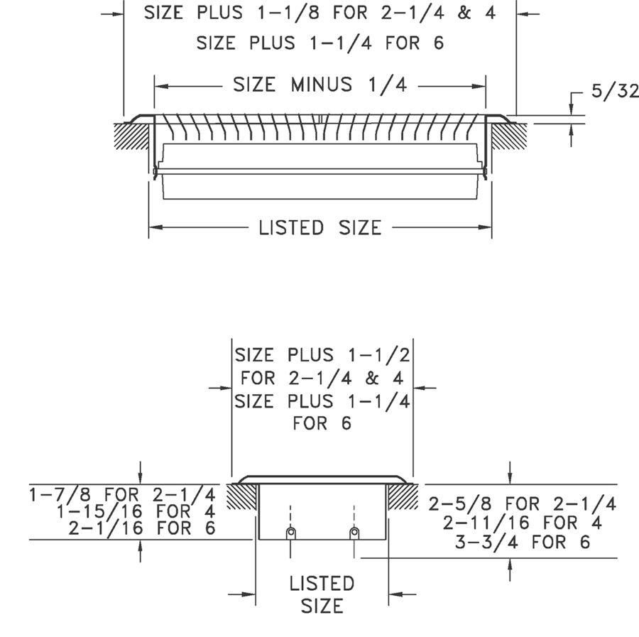 Dimensional Drawing 850 - Deluxe Floor Register