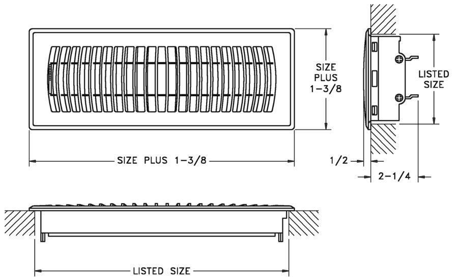 RZ800 - Plastic Floor Register - Dimensional Drawing