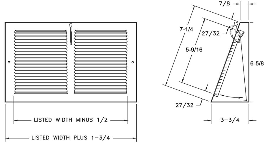 Dimensional Drawing  649 - Baseboard Register