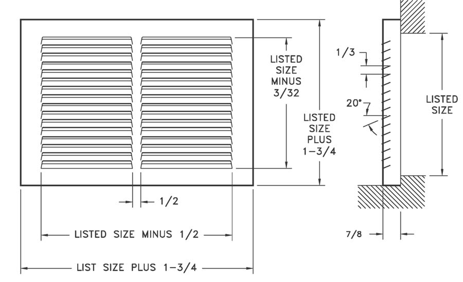 Dimensional Drawing 671 - Baseboard Return Grille