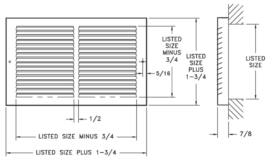 Dimensional Drawing 60GH7 - Stamped-Face Baseboard Return Grille