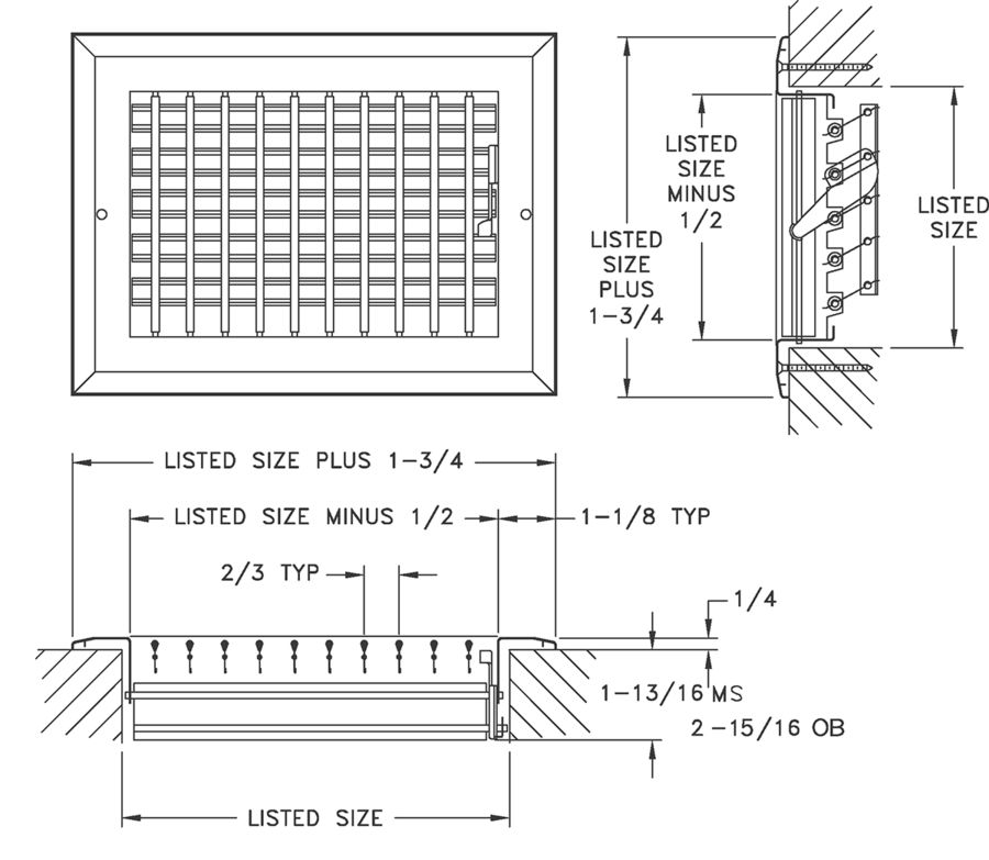 AL278 - Adjustable Straight Blade Sidewall Register with Multi-Louver Damper - Dimensional Drawing
