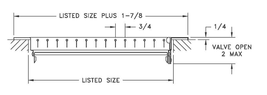 900H/900V AL900H/AL900V - Single Deflection Supply with Multi-Louver Damper, Steel or Aluminum - Dimensional Drawing