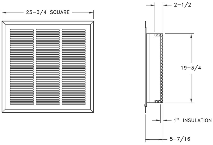 4260FF - Stamped-Face Return Filter Grille Plenum-Backed, T-Bar Lay-In - Dimensional Drawing
