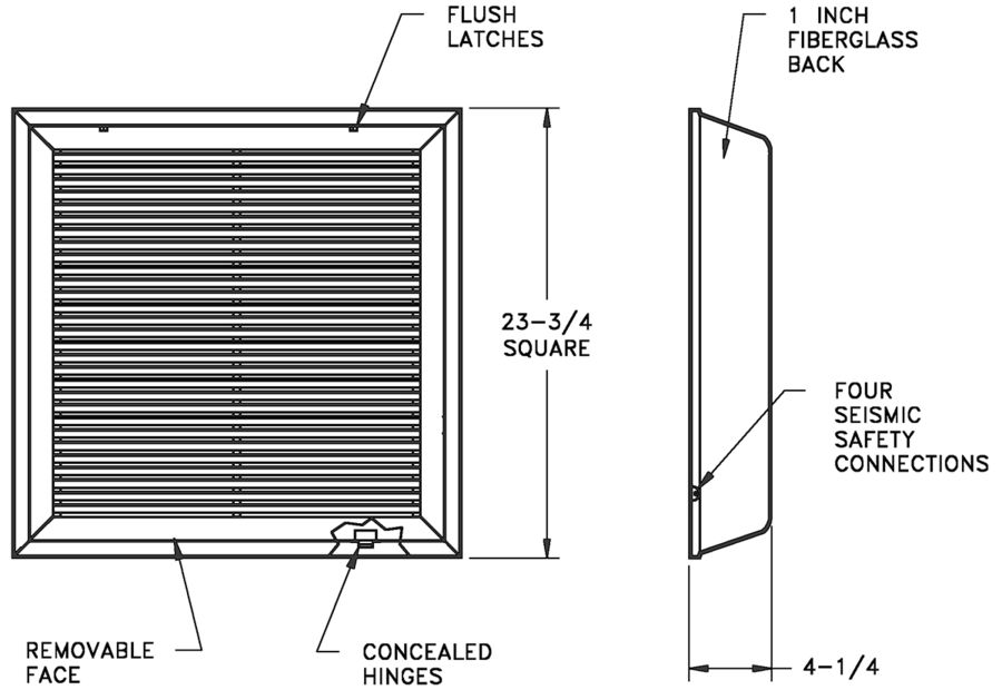 S90HFFI - Filter Frame Fixed-Bar Return with Insulated Back for T-Bar Lahy-In - Dimensional Drawing