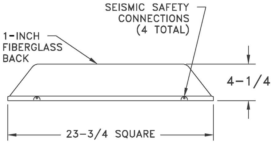 AL4240 - Four-Way Stamped-Face Ceiling Supply - Dimensional Drawing