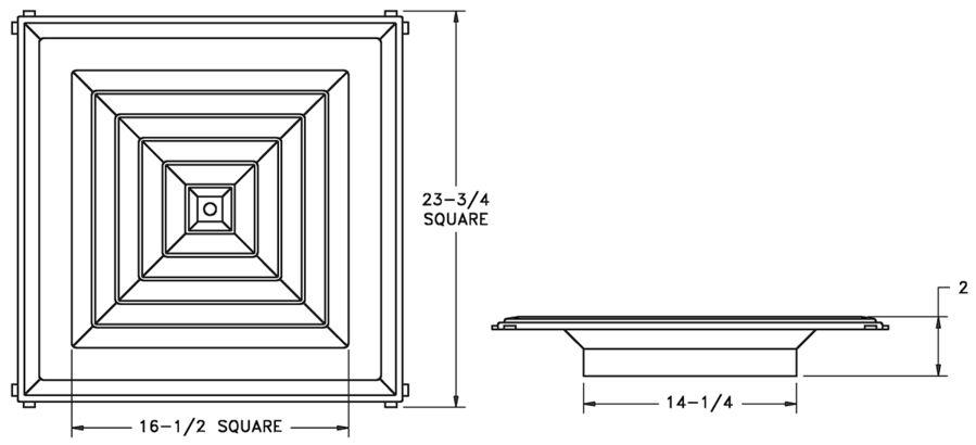 RZ1400 - Plastic T-bar Directional Diffuser - Dimensional Drawing