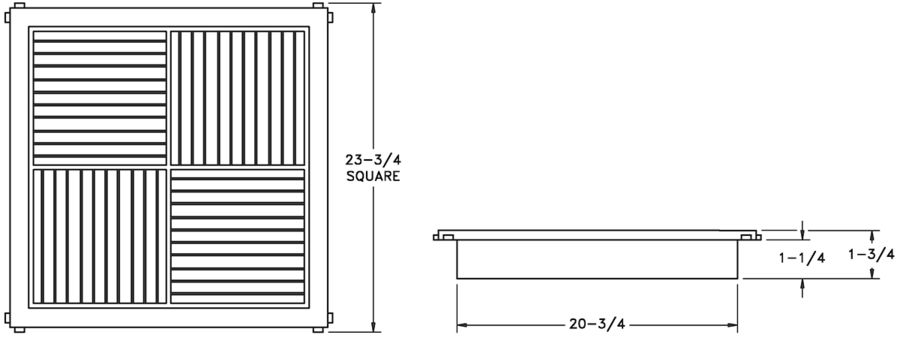 RZ1444 - Plastic T-bar Modular Core Diffuser - Dimensional Drawing