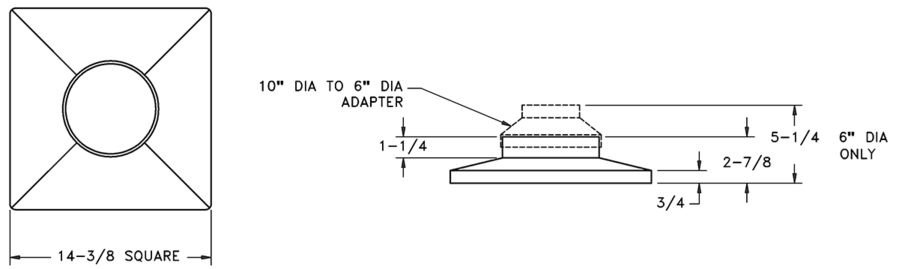 RZRNA - Plastic Square-to-Round Neck Adapter - Dimensional Drawing