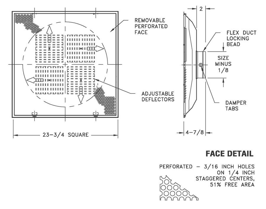 1235 - Perforated Supply with Removable Face Lay-In T-Bar Round Neck      Content     Basic     Assets     Related Products  Product Content Model 1235 Perforated Supply with Removable Face Lay-In T-Bar Round Neck      Model 1235 Removable face roun