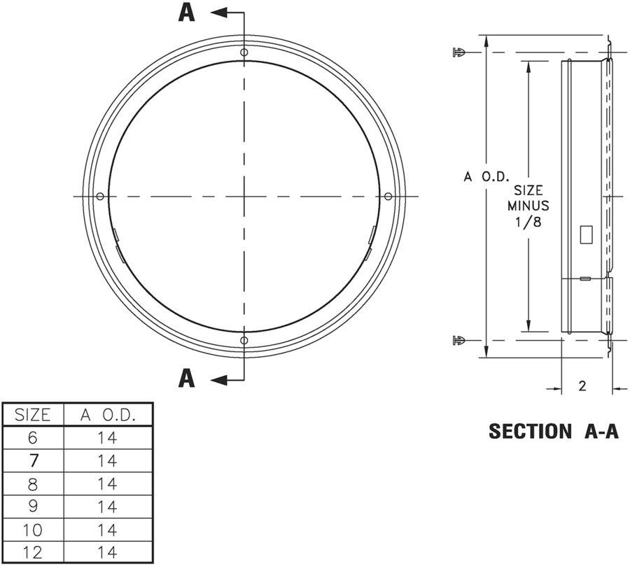 1565 - Collar Ring -Dimensional Drawing