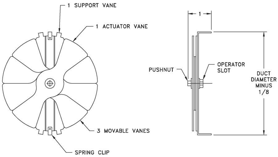 R42 - Radial Blade Damper - Dimensional Drawing