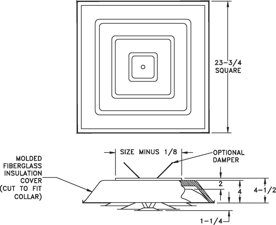 1570 - Insulated Step-Down Ceiling Diffusers- Dimensional Drawing