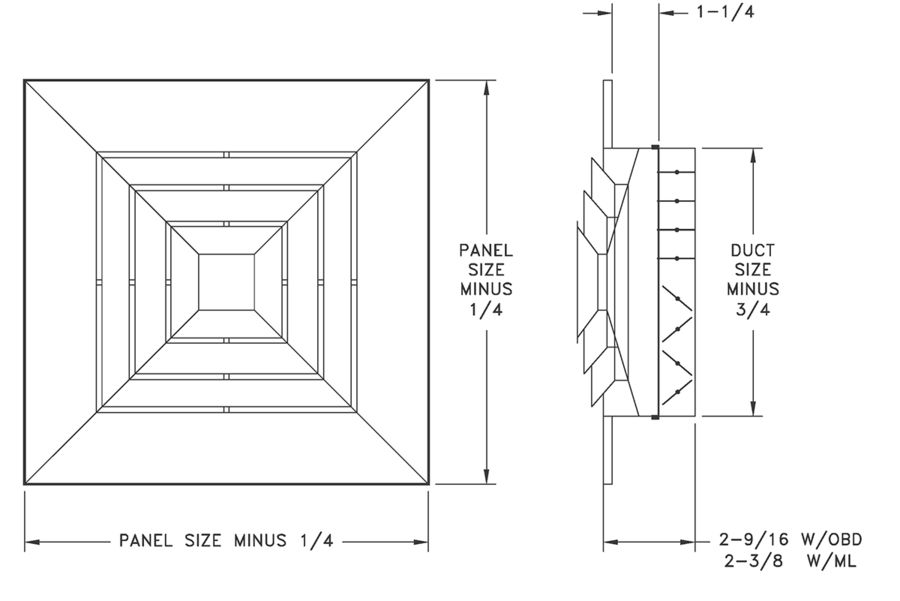 1120/AL1120 - Step-Down Ceiling Diffuser for Layin T-Bar Ceilings - Dimensional Drawing