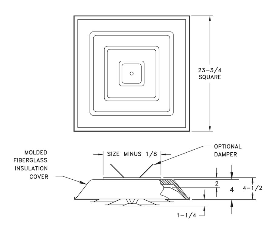 1540/1540D - Insulated Step-Down Ceiling Diffuser - Dimensional Drawing
