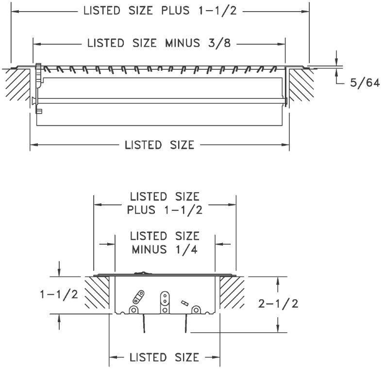 800 - Stamped Floor Register Dimensional Drawing