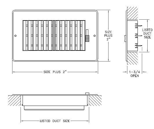 RZ602 - Plastic Sidewall/Ceiling Register- Two-way -Dimensional Drawing