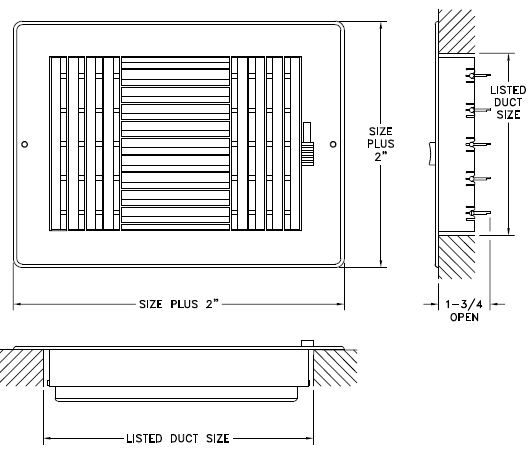 RZ603 - Plastic Sidewall/Ceiling Register- Three-way - Dimensional Drawing