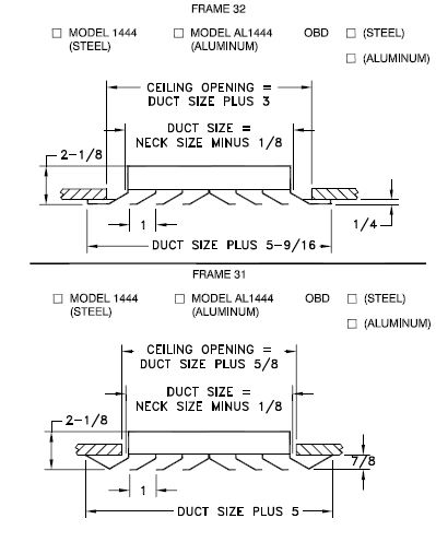 AL1444/1444 - Modular Core Supply or Return Diffuser - Dimensional Drawing