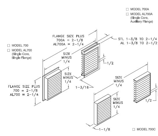 AL700/700 - Nonvision Door Grille - Dimensional Drawing