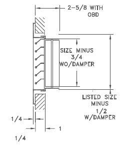 S90H/S90V or ALS90H/ALS90V - Stationary-Bar Return Grille, Steel or Aluminum - Dimensional Drawing