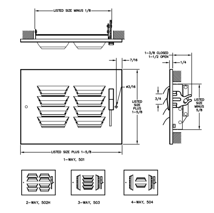 Dimensional Drawing 500/AL500 - Stamped Curved-Blade Supply Register with Multi-Louver Damper (