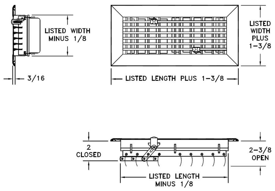 AL833 - Extruded Aluminum Floor Diffuser -Dimensional Drawing